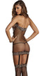 Leopard Halter Fishnet Dress with Built-in Garters