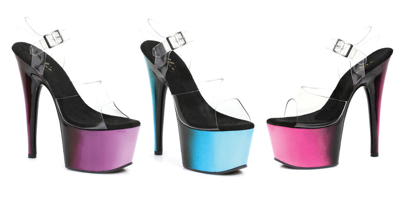 7 Inch Heel Mule with Ombre Design - ElegantStripper