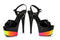 7 Inch Heel Juliet Sandal with Rainbow Design - ElegantStripper