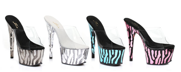 7 Inch Heel Mule with Metallic Zebra Pattern - ElegantStripper