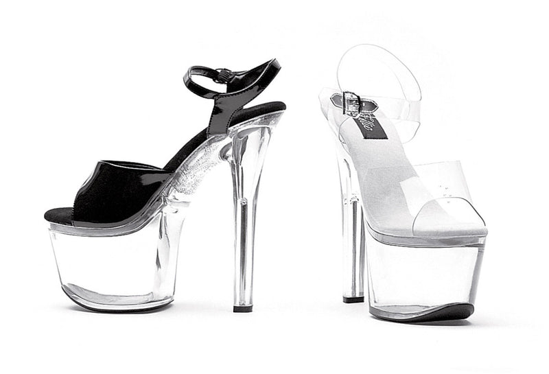 7 Inch Heel Clear Bottom Sandal - ElegantStripper