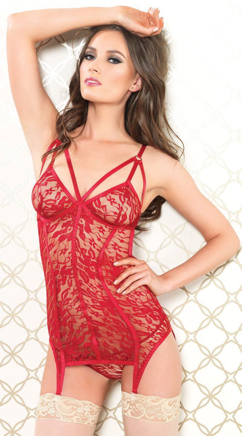 Two Piece Lace Garter Dress and G-String Set