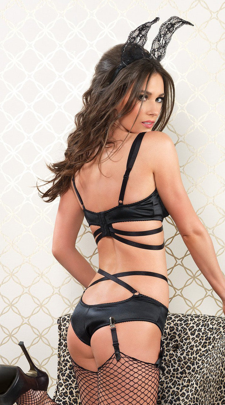 Two Piece Cage Strap Bra and Panty Set