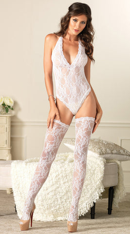 Two Piece Floral Lace V Teddy and Stockings