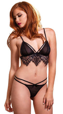 Two Piece Swiss Dot Cage Strap Bra with Chantilly Lace Fringe and Strappy