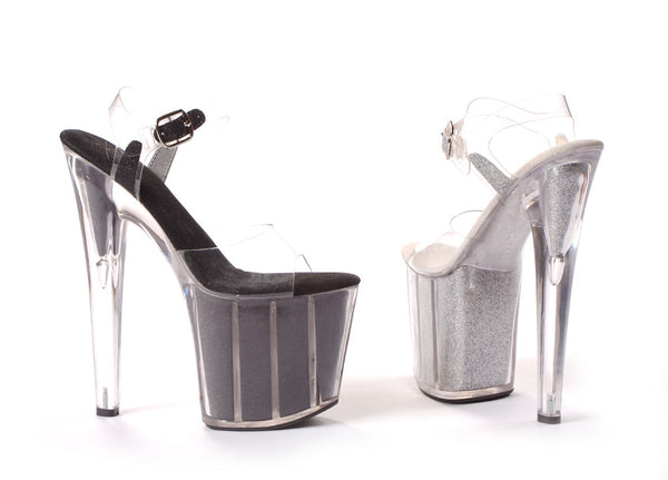 8 Inch Heel Pointed Stiletto Sandal with Glitter In Platform - ElegantStripper