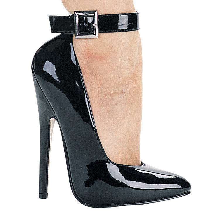 6 Inch Heel Fetish Pump with Ankle Strap - ElegantStripper