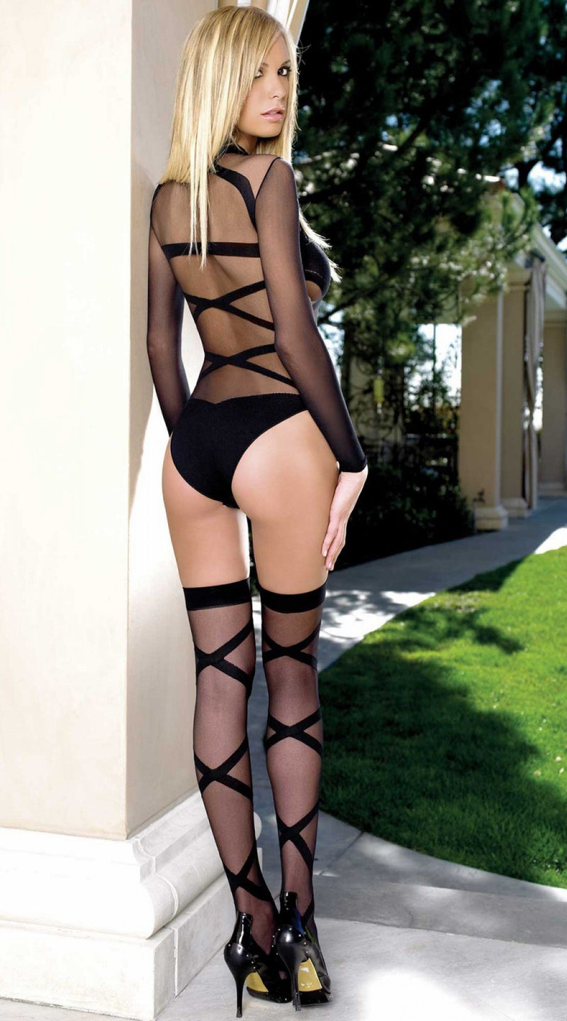 Two Piece Criss Cross Teddy and Thigh Highs