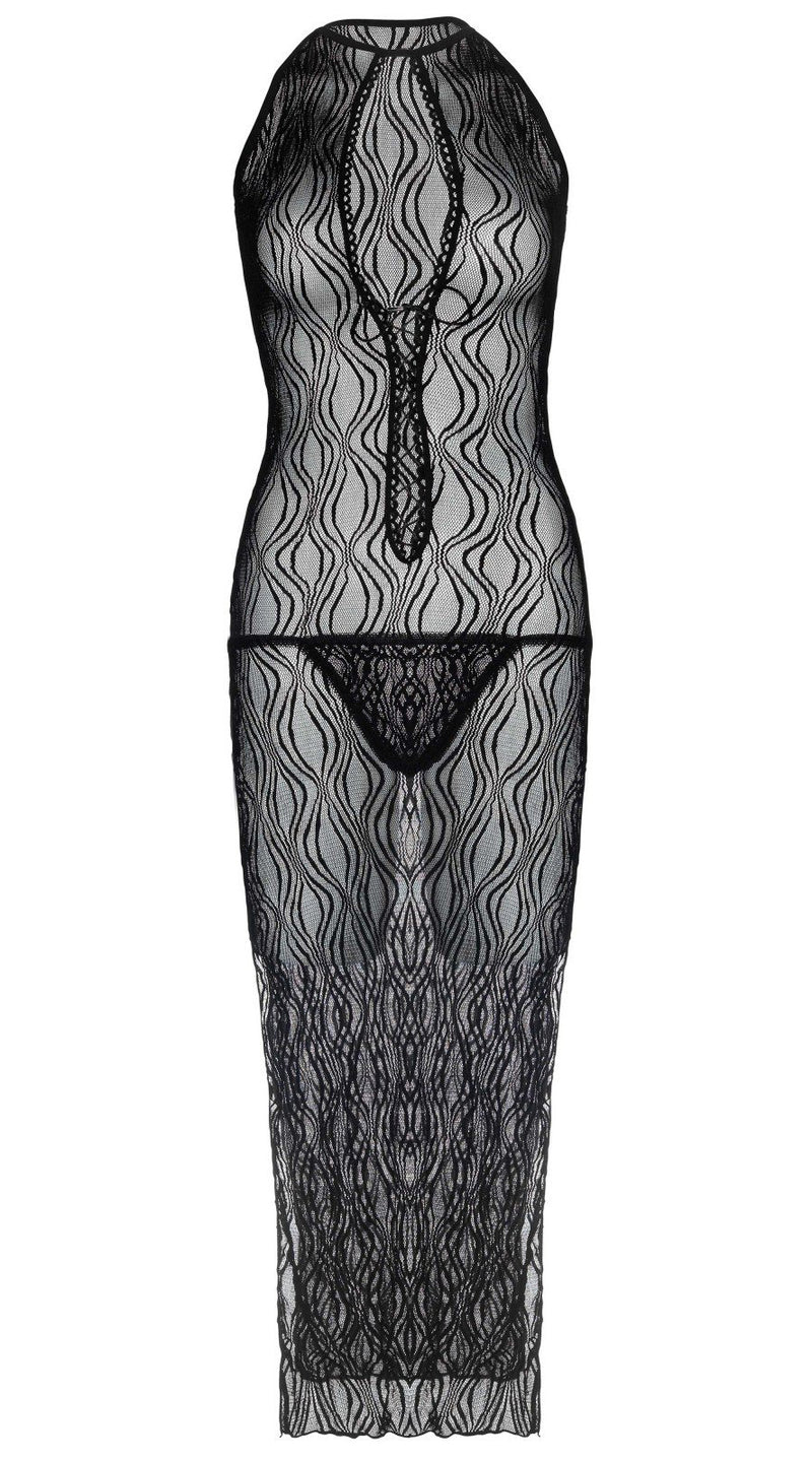 Two Piece Swirl Lace Long Gown and G-String