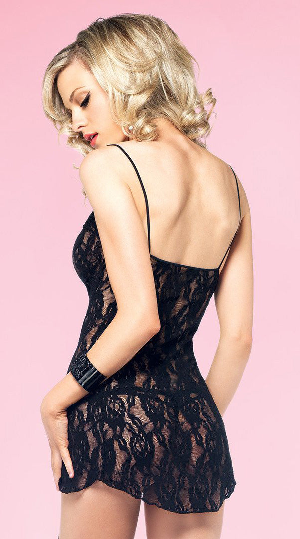 Two Piece Rose Lace Chemise and G-String