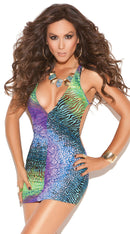 Deep V Mini Dress Multi Color