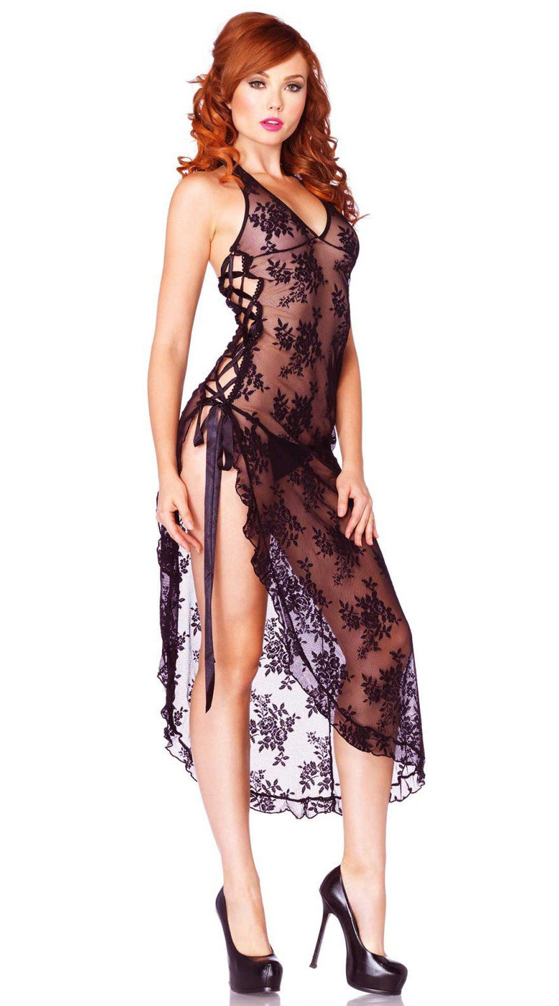 Two Piece Rose Lace High Slit Gown and G-String