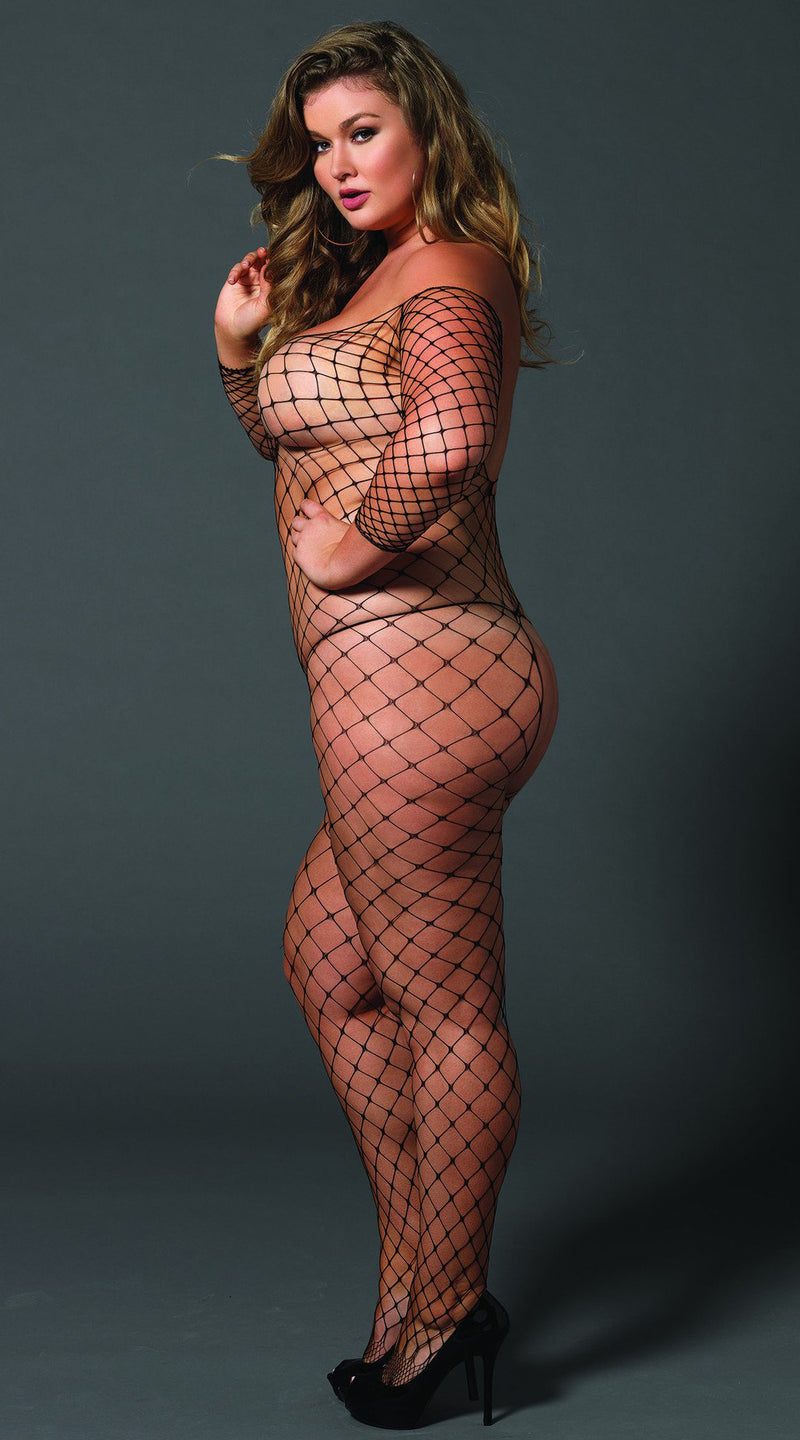 Fence Net off the Shoulder Bodystocking