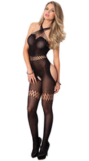 Sheer Bodystocking with Net Detail and Multi Strand Halter Neck
