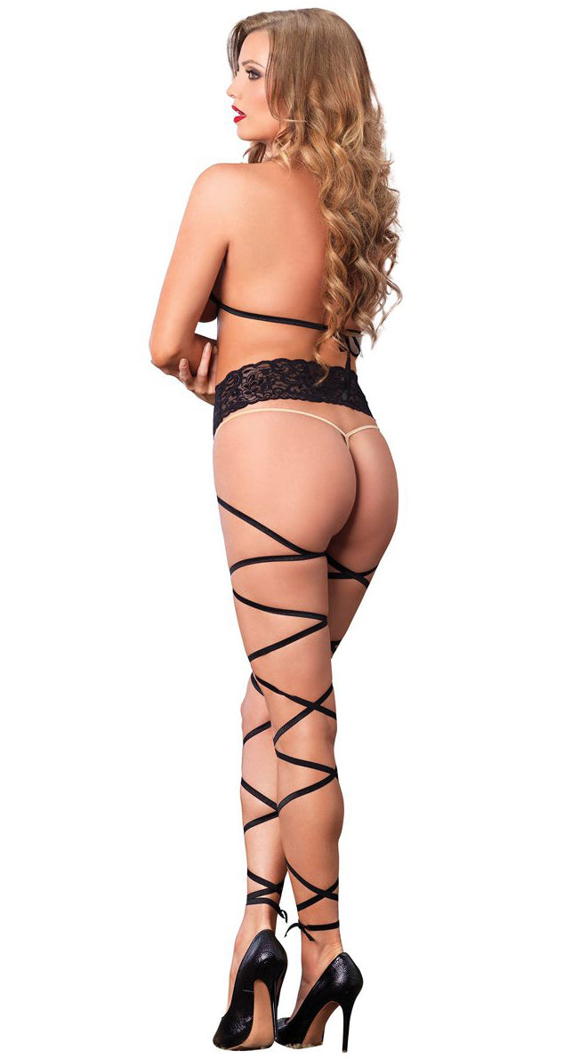 Lace Cage Strap Wrap Around Bodystocking