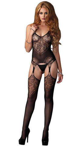 Lace Jacquard Suspender Bodystocking