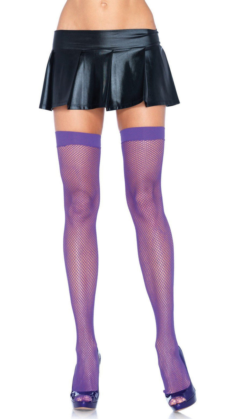 Nylon fishnet thigh highs