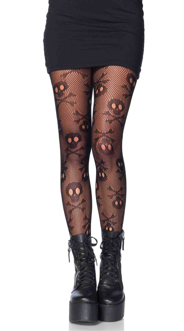 Pirate Booty Skull Net Pantyhose
