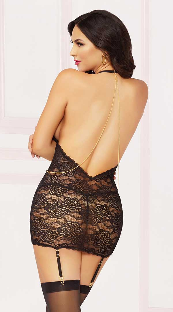 Lace & Chain Chemise With Thong Set