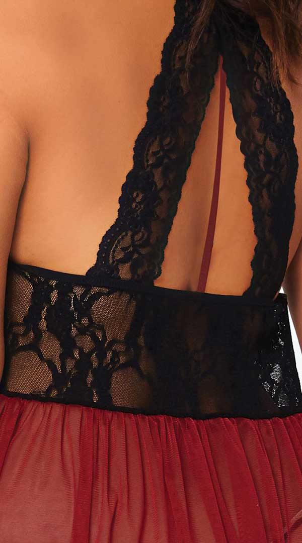 Babydoll With Floral Lace Waist & G String - ElegantStripper