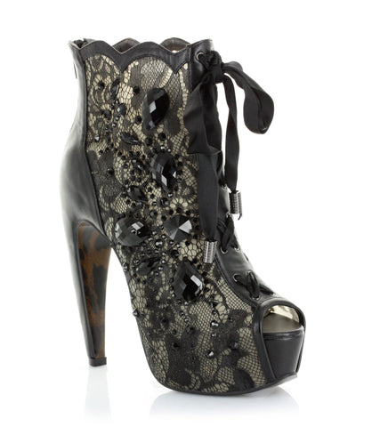 Concelaed 55 Inch Heel with Lace and Stone Peep Toe Ankle Boot
