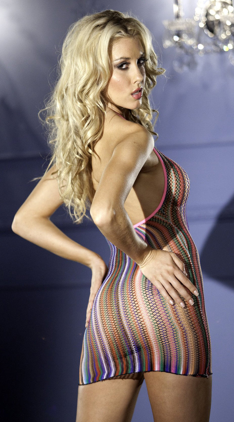 Halter Fishnet Mini Dress