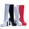 5 Inch Heel Stretch Knee Boots with Inner Zipper Chacha Model - ElegantStripper