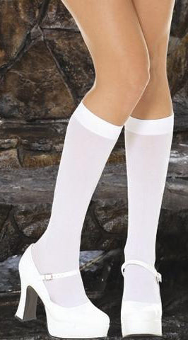 White Opaque Knee High Stockings