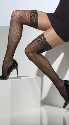 lace top fishnet hold-ups with silicone
