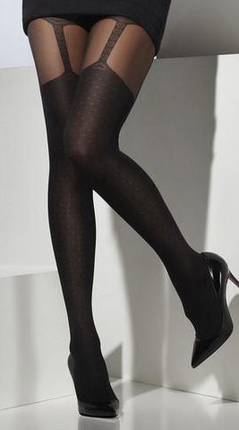 Opaque Suspender Print Tights