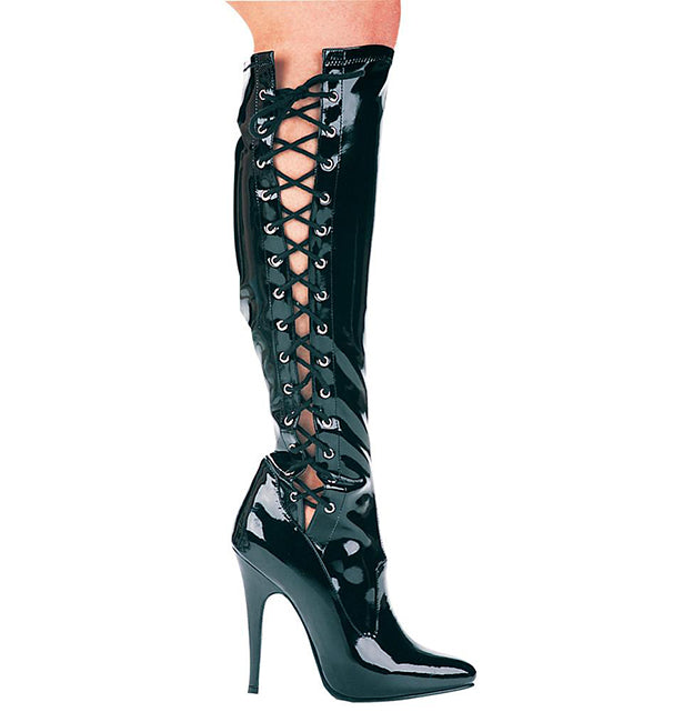 5 Inch Heel Knee High Stretch Boot with Inner Zipper - ElegantStripper