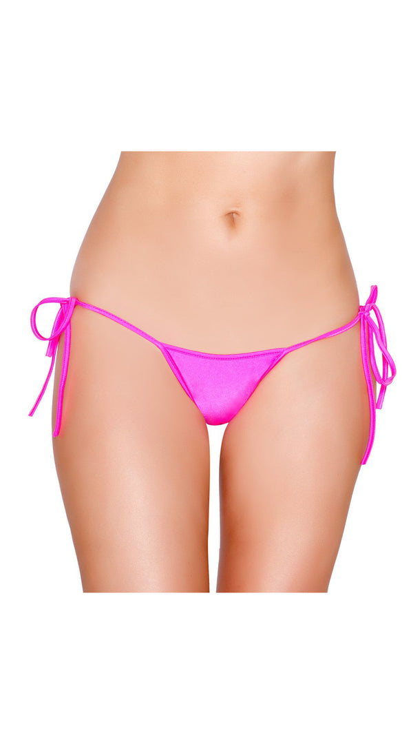 Hot Pink Tie Side Bikini Bottom with Pucker Back Detail