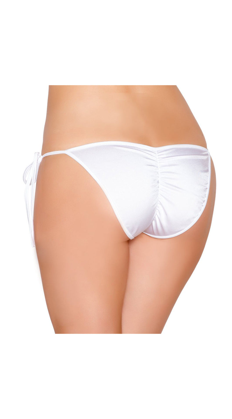 White Tie Side Bikini Bottom with Pucker Back Detail