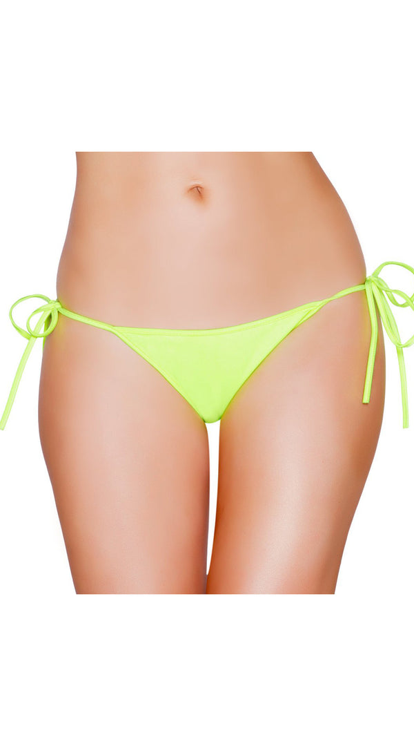 Yellow Tie Side Bikini Bottom with Pucker Back Detail