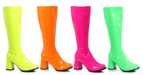 3 Inch Heel Gogo Boots Neon with Zipper