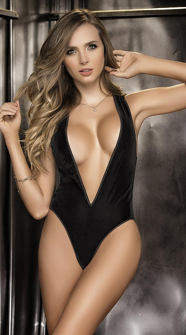Bodysuit With Deep V Front & Sheer Back - ElegantStripper
