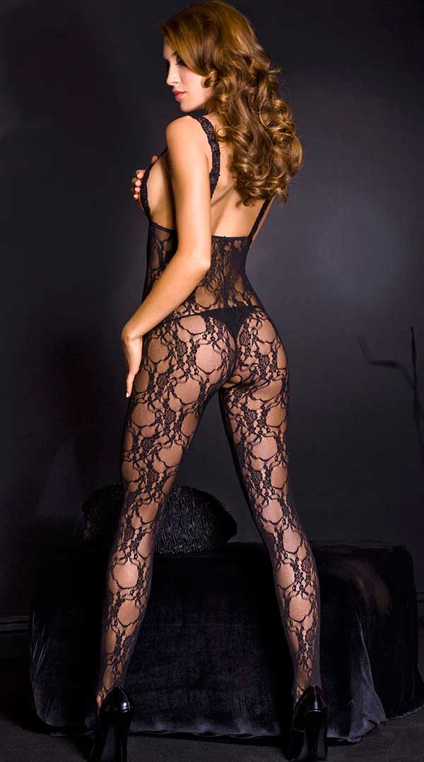 Lace Peek a Boo Crotchless Bodystocking with Satin Bow