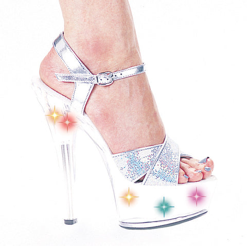 6 Inch Heel Silver Glitter Sandal with Multicolor Lights