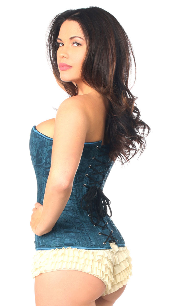 Lace Overbust Corset with Zipper in Dark Teal