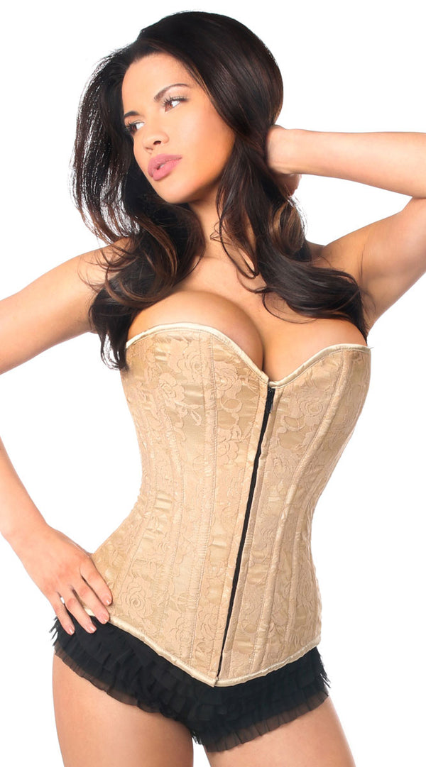 Lace Overbust Corset with Zipper in Dark Beige