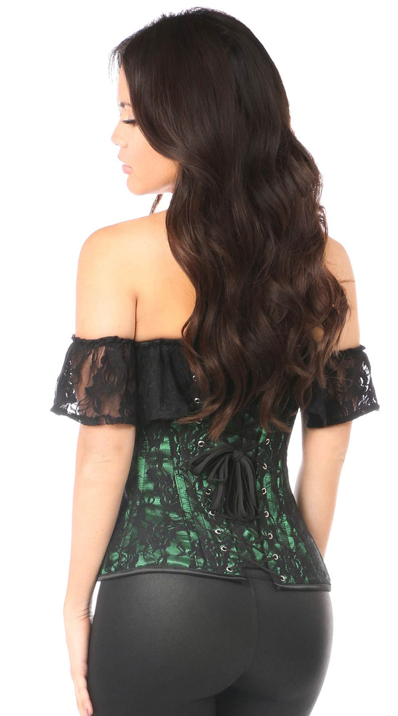 Lace Off-The-Shoulder Corset in Green