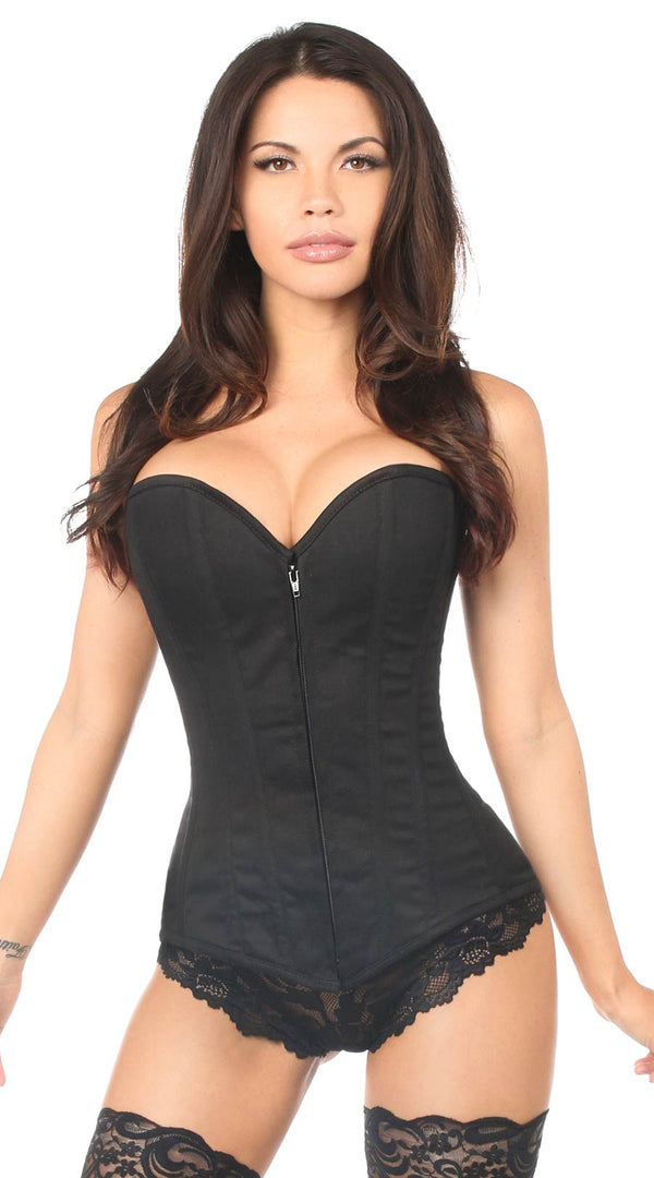 Cotton Overbust Corset in Black