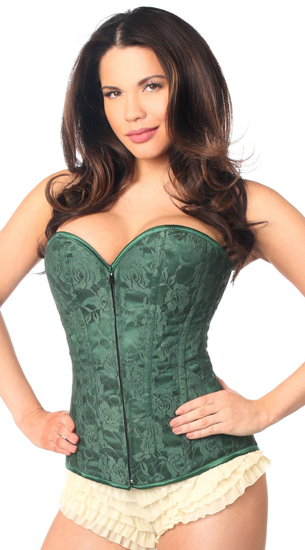 Lace Overbust Corset with Zipper in Dark Green