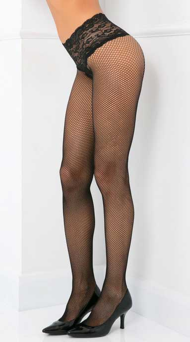 Lace Top Fishnet Pantyhose