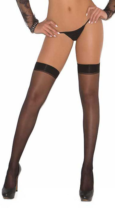 Sheer Thigh High With Rhinestone Back Seam