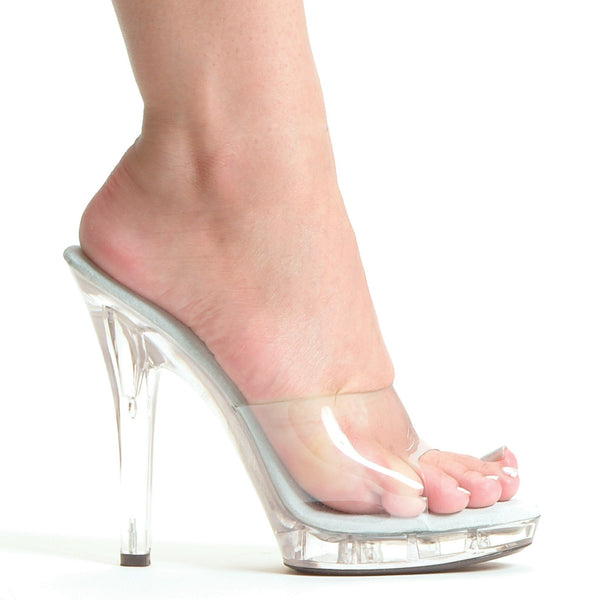 5 Inch Heel Clear on Clear Skeloton Mule - ElegantStripper