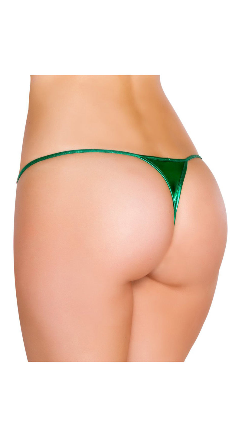 Hunter Green Metallic Low Cut Thong