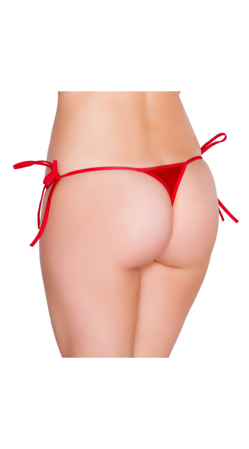 Red Micro Low Cut Tie Side Thong