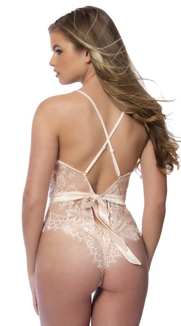 Soft Full Lace Bodysuit With Satin Trims
