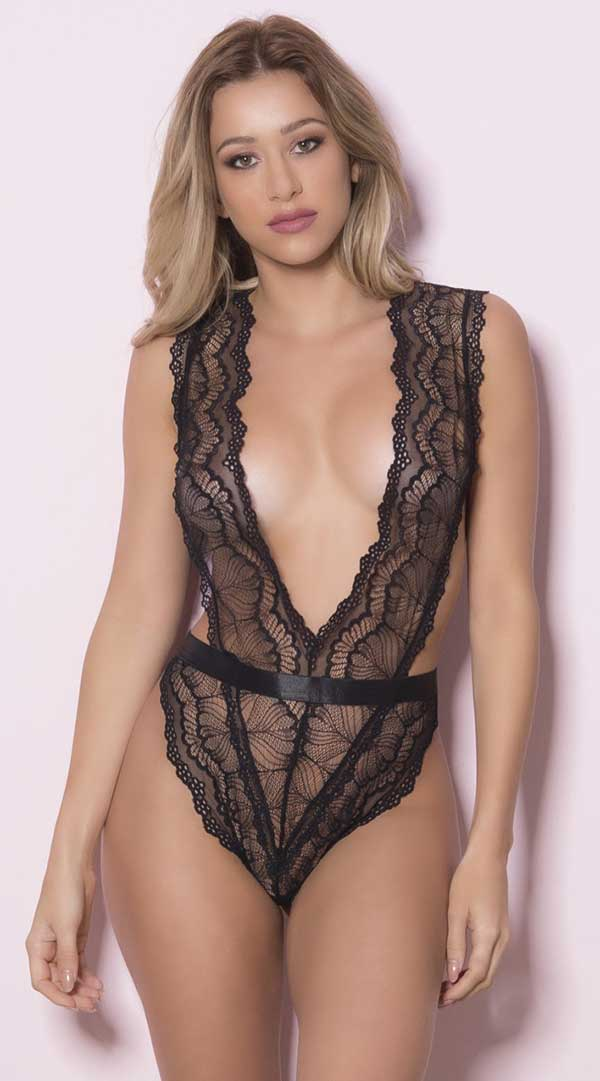 Soft Cup Teddy With Wide Waistband Functional Side Ties and Thong Back